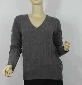 Ralph Lauren Cashmere Wool Cable Knit Sweater Womens Large Gray ...
