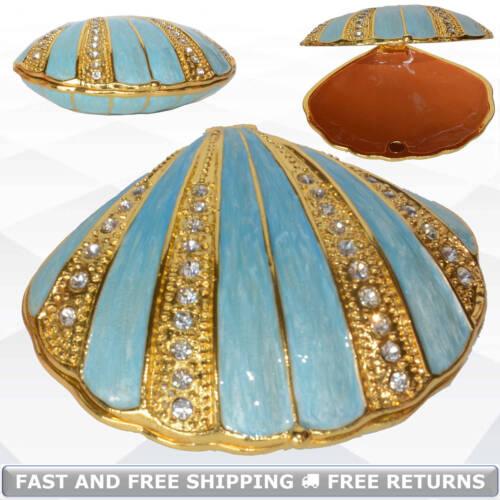 Sea Scallop Shell Miniature Trinket Box Hinged Lid Enameled Bejeweled Rhinestone