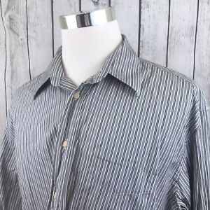 Canali-Mens-White-Blue-Black-Striped-Long-Sleeve-Button-Shirt-Italy-Size-XXL