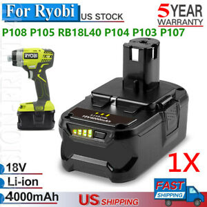 Details about 4 0AH P108 RB18L40 18V One Plus Lithium Battery for Ryobi  P104 P200 P206 P310 PC
