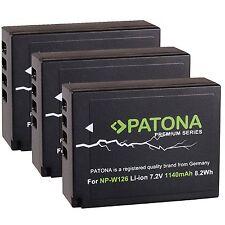 3x Premium Battery Akku Patona np-w126 für Fuji FUJIFILM X-Pro2 / NP-W126s