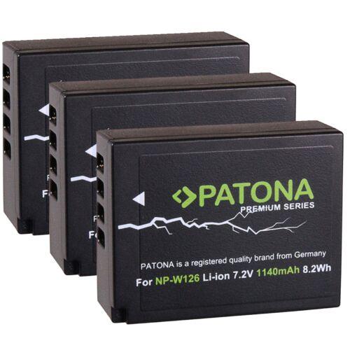 3x premium Battery batería patonas para np-w126 para Fuji Fujifilm x-pro1//np-w126s