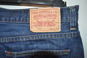 Vintage-Levis-758-blue-jeans-red-tab-W-34-L-30-button-fly