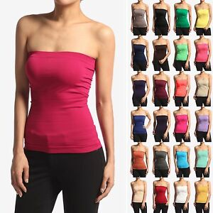 3120ca1a7d Image is loading MOGAN-BASIC-Layering-Stretch-PLAIN-Strapless-TUBE-TOP-