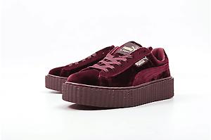 promo code 3b7ab ac375 Details about Brand new Puma Fenty Velvet Creepers by Rihanna burgundy size  10 US, 9 UK w/ bag