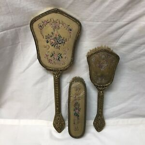 Vintage-Petit-Point-Vanity-Dresser-Set-Hair-Clothing-Shoe-Brush-Hand-Mirror-Set