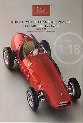 Heerlijk Fascicule Depliant 6 Pages Cmc Exclusive Modelle Ferrari 500 F2 1953 Scale 1/18