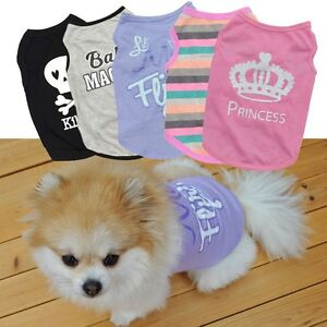 Small Dog Clothes Pet Puppy Cat Tee Shirt For Chihuahua Teacup Dog