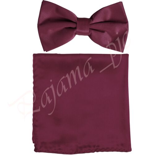 Brand New Men Solid Butterfly Pre-tied Bow tie and Hanky Set Wedding Party Prom