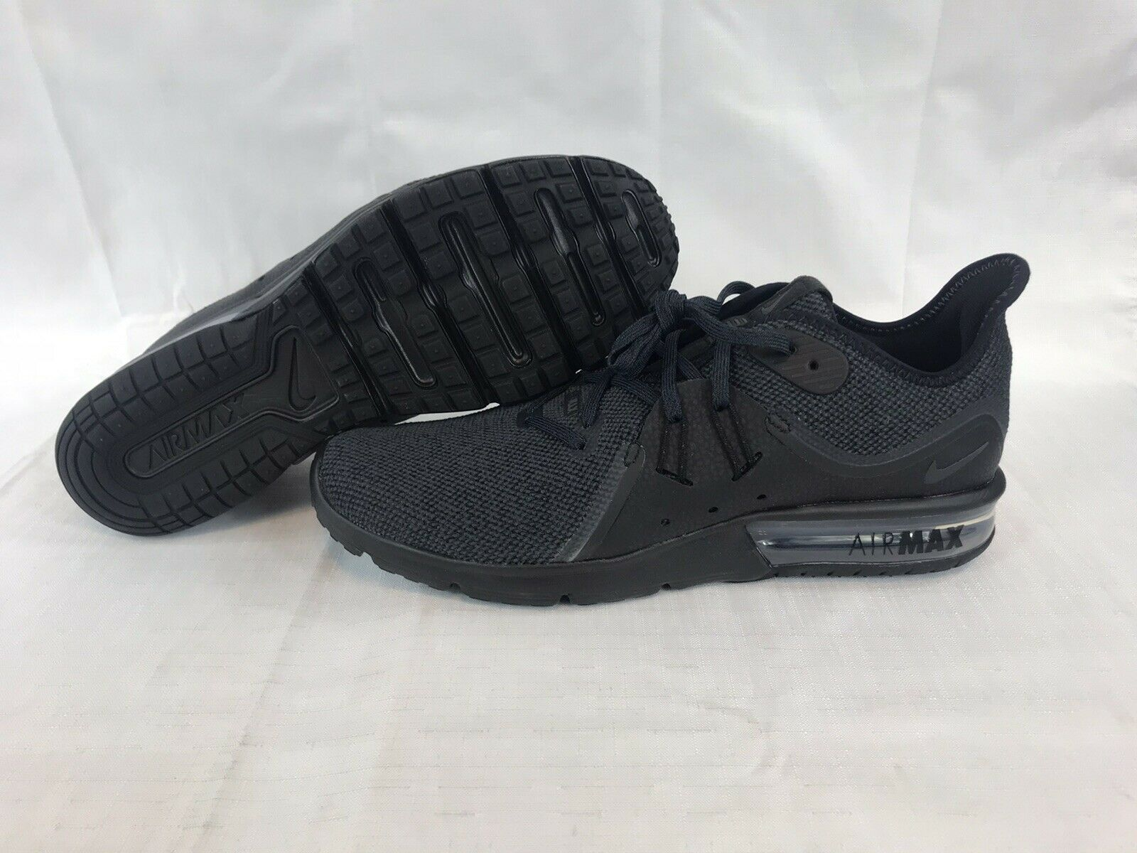 persona que practica jogging Amado caligrafía  Mens Nike Air Max Sequent 3 Running Shoes Black Gray 13 924694-010 for sale  online   eBay