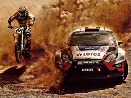 PHOTOGRAPH SPORT MOTOCROSS BIKE RALLY CAR DIRT RACE POSTER ART PRINT BB12279B