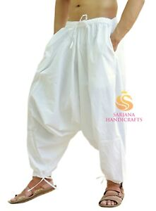Image Is Loading Indian Men Women Cotton White Harem Pants Genie