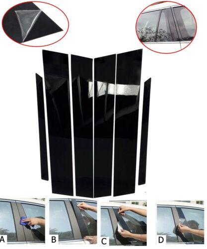 6pcs Piano Gloss Black B C Pillar Panel Window Trim Cover For 13-17 Accord