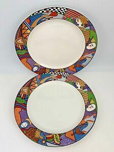 Set-of-2-Vitromaster-10-1-2-034-Dinner-Plates-Metropolitan-Pattern