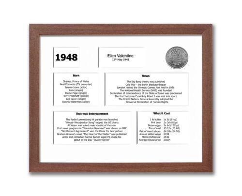 Personnalisé 71st Anniversaire encadré souvenir de 1948 Ensemble Cadeau 2019