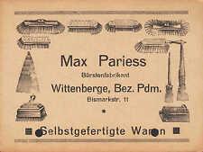 WITTENBERGE, Postkarte 1935, Max Pariess Bürsten-Fabrikant