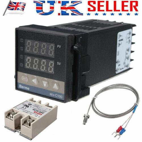 REX-C100 220V Digital PID Regulador de Temperatura 40 ASSR 1M Sensor Termopar K