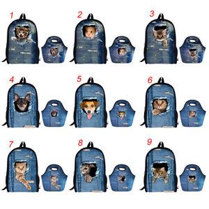 Mochila-escolar-ninas-ninos-Gato-Mochila-Bolso-de-Almuerzo-Comida-De-Vaquero-bolsas-de