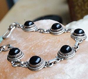 Massiv-Dick-Silber-Armband-Onyx-Kordelmuster-18-19-cm-Verspielt-Handarbeit