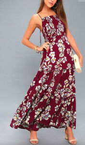 fb18a069a02f Free People OB580623 Garden Party Floral Maxi Dress Raspberry Red ...