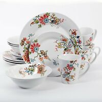 16 Pc Floral Dinnerware Dish Set Plate Bowl Cup Service For 4 Table Kitchen