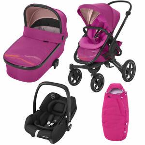 Maxi Cosi Nova Pushchair, Oria Carrycot, Tinca Car Seat & Footmuff Pink RRP:£856
