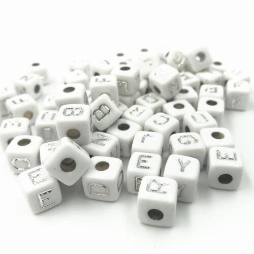 Alphabet Spacer Perlen 10X10mm DIY 100X Kubisch Acryl Perlen Silber Buchstaben