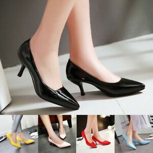 New-Women-Pointed-Toe-Kitten-Heels-Dress-Shoes-Slip-On-Classic-Pumps-Party-Shoes