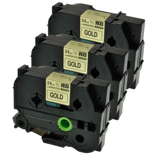 3 Schriftbänder kompatibel zu Brother P-Touch TZE-851 8m//24mm Schwarz auf Gold