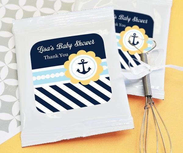 48 personnalisé nautique bébé thème Hot Cocoa Mix Sachets Baby Shower Favors