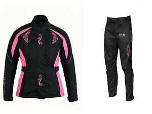 Ladies Waterproof CE Armoured Motorcycle Black and Pink Trousers