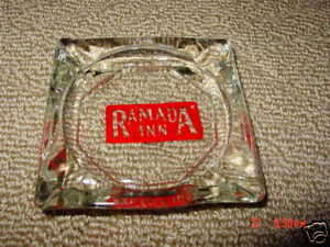 Ashtray-Ramada-Inn-Hotel-Smoke-Tobacciana-Clear-Glass-Square-w-red-background