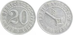 Bremen Official Emergency Money 20 Verrechnungspfennig (1924) Almost Excellent