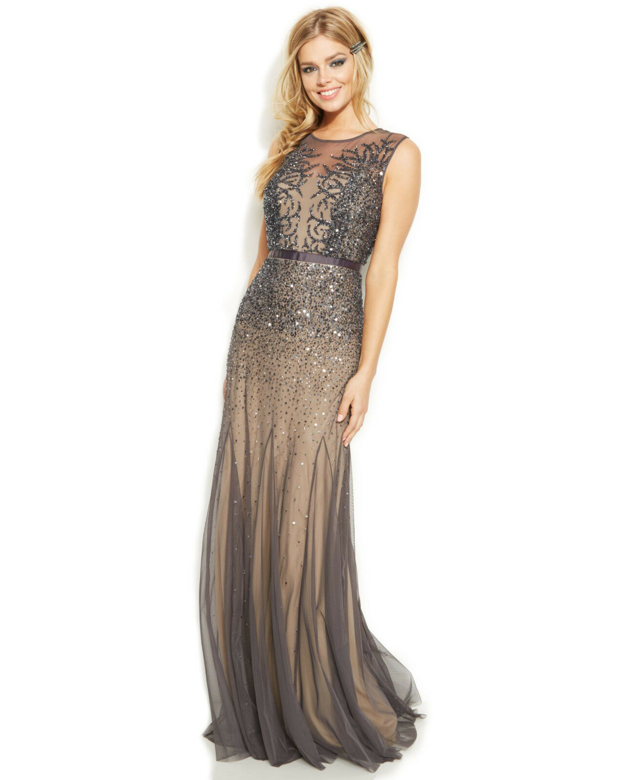 Adrianna Papell New Womens Gunmetal Sleeveless Beaded Illusion Gown   2     299