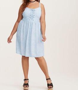 54c41e8520 Torrid Floral Print Lace Up Challis Tank Dress Blue 00X Med Large 10 ...