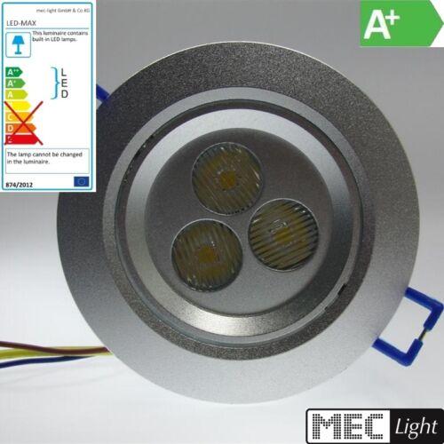 warm-weiß LED Einbauspot-Leuchte -dimmbar- 3x 1W LEDs 210LM DA=71mm