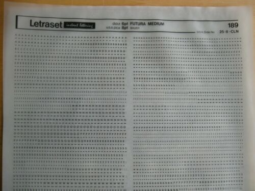 1 x Letraset Upp//Low Lett//Num Futura Medium 6pt 1.7mm Sheet 189