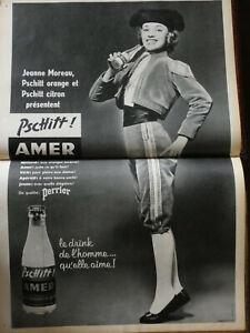 PUBLICITE-DE-PRESSE-1957-PSCHITT-AMER-PERRIER-AVEC-JEANNE-MOREAU