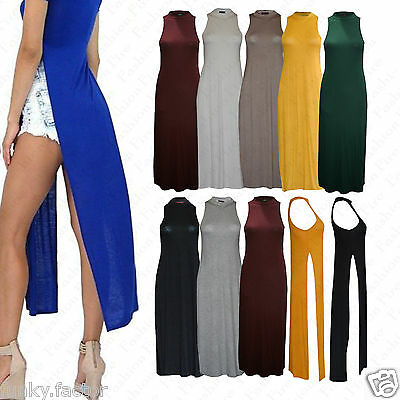 Ladies Womens Celebrity Inspired SPLIT Double Side Slits Long Maxi Dress T Shirt