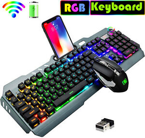 Rechargeable Wireless Rgb Gaming Keyboard And Mouse Set Optics For Pc Ps4 Laptop Ebay