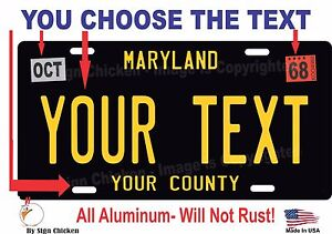CUSTOM PERSONALIZED ALUMINUM BICYCLE MINI STATE LICENSE PLATE-MARYLAND 2016