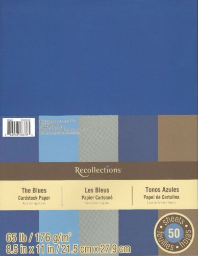 "New Recollections 8.5x11/"" Cardstock Paper The Blues Grey Brown 50 Sheets"