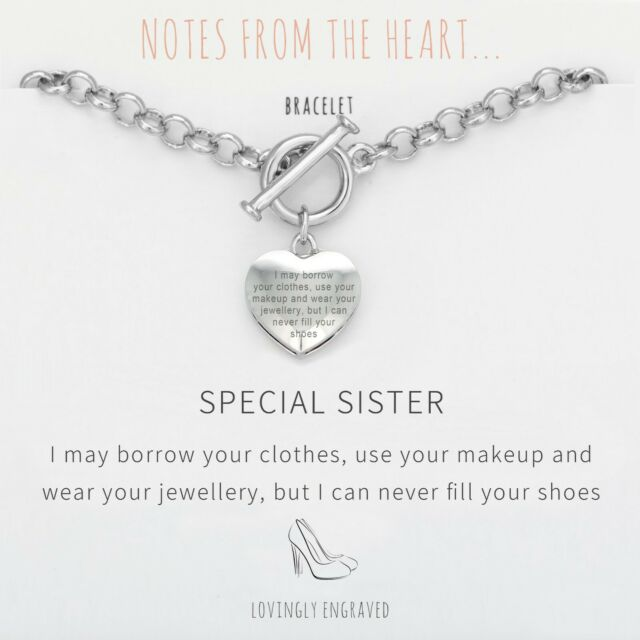 Heart Engraved Silver Bar Chain Bracelet