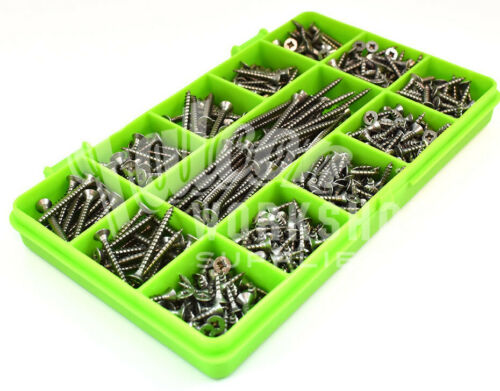 460 ASSORTED A2 STAINLESS 6g 3mm POZI CSK WOOD SCREWS SCREW DIY COUNTERSUNK KIT