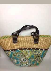 b7d7d8cfd Vera Bradley Peacock Floral Straw Wicker Fabric Tote Bag Blue Green ...