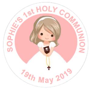 48 personnalisé 1st Communion Confirmation stickers 40 mm Sweet Sac Étiquettes