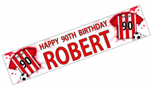 PERSONALISED BANNER NAME AGE PHOTO BIRTHDAY FOOTBALL 91st 92nd 93rd red white K6