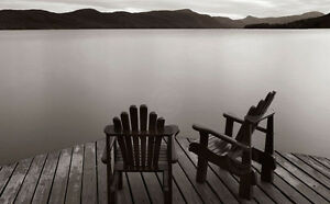 Details about LAKE ART PRINT Two Chairs - James McLoughlin 16x24 Dock  Adirondack Chairs Poster