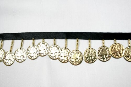"""Beaded Trim 1-1//2/"""" Gold Sequin Glass Bugle Beads Metal Coin with 3//8/"""" Ribbon"""