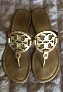a99833da0 Image is loading Tory-Burch-Metallic-Gold-Tumbled-Leather-Miller-Sandals-